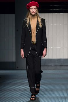 Gucci: Formal Suit + Flat Sandals