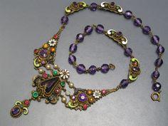Deco Czech Enamel Glass Bib Necklace
