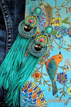 Blue Tassel Earrings, Soutache Earrings, Beaded Brooch, Turquoise Earrings, Etsy Earrings, Gold Rings Jewelry, Fall Jewelry, Beaded Jewelry, Diy Jewelry Projects