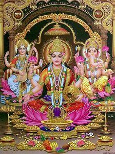 Take a look at this stunning compilation of our list of HD images where each Devi Lakshmi Image Is special - stunning Lakshmi images/photos. Ganesha Pictures, Ganesh Images, Saraswati Goddess, Shiva Shakti, Durga Maa, Hanuman Chalisa, Shree Krishna, Lakshmi Images, Lord Ganesha Paintings