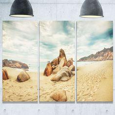 Designart - Stones on the Foreground Beach - Landscape Glossy