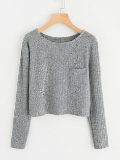 Tops Winter Fall Women Long Sleeve O-Neck Crop Tops Sweatshirt Casual Blouse Pullover Casual Outfits, Cute Outfits, Fashion Outfits, Girl Fashion, Long Sweaters, Cute Shirts, Pulls, Casual Tops, Long Sleeve Sweater