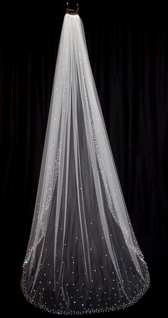Bridal Veil with Crystal Edge and Scattered Crystals by pureblooms, $245.00