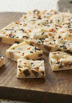 Hootin' Halloween Fudge Recipe - Grab some of those fun-size candy bars from the kids' Halloween bags to make this sprinkle-bedazzled white chocolate fudge.