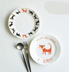 Plate Bone China Quality Dish Directly From Suppliers Cartoon Cat Decorative Plates Dishes Colors