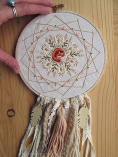 sleeping fox hand embroidered dream catcher by Aimee Ray bohemian boho decor www.littledear.etsy.com