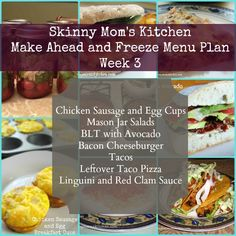 Skinny Mom's Kitchen make ahead and freeze menu plan. Recipes, grocery list, and instructions included.