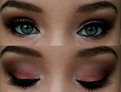 Don't know which is prettier: the eye color or the metallic coral?