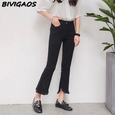 2017 Spring New Womens Black Micro Flare Pants Burrs Irregular Tassels Cropped Trousers Women Pants Elastic Slim Capris Pants