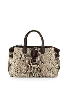 Cristina Medium Crocodile/Python Tote Bag, Natural/Crackle, Size: M - Nancy Gonzalez Beautiful Handbags, Beautiful Bags, Best Handbags, Tote Handbags, Thigh Bag, My Style Bags, Nancy Gonzalez, Naha, Handbag Accessories