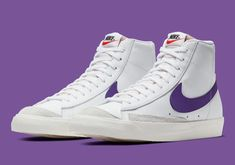 The Nike Blazer Mid 77 Vintage Gets Purple Swooshes Buy Sneakers, Sneakers Fashion, Hypebeast Sneakers, Blazer Outfits For Women, Purple Nikes, Purple Outfits, Fresh Shoes, Hype Shoes, Kicks