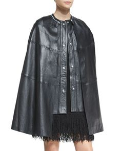 Shop leather cape vest black from Mcq Alexander Mcqueen in our fashion directory. Sleeveless Coat, Mcq Alexander Mcqueen, Fashion Studio, Neiman Marcus, High Fashion, Fashion Design, Clothes, Leather Vest, Leather Jackets