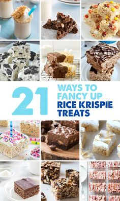 21 Ways to Fancy Up Rice Krispie Treats: Chocolate, pretzels, Nutella, peanut butter, and other ingredients all combine for some amazing treats, and new concoctions like marshmallow treat milkshakes!