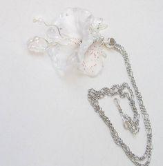 Blickfang Klar Weiß(AB)Kette/Elfenprinzessin irisierend Fee Blume Blüte Lilien