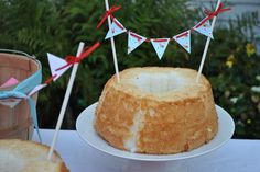 angel food cake and cake bunting