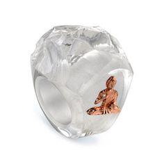Borgioni - White Quartz Prayer Buddha Ring