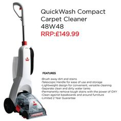 This BISSELL QuichWash Compact Carpet Cleaner comes complete with a telescopic handle for ease of use and storage. It is great for cleaning your carpets, rugs & more
