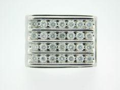 2.00 CARAT T.W. MAN'S ROUND CUT DIAMOND CLUSTER RING 14K WHITE GOLD #30456 #Cluster