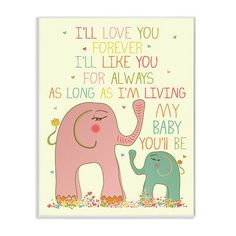 Stupell Industries The Kids Room I'll Love You Forever Elephant Wall Plaque