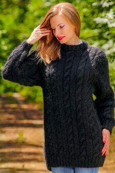 Black mohair sweater cable pullover fuzzy hand knitted thick jumper SUPERTANYA #SuperTanya #Pullover #Casual Thick Sweaters, Cozy Sweaters, Cable Knit Sweaters, Mohair Sweater, Sweater Outfits, Hand Knitting, Knitwear, Style Me, Knit Crochet