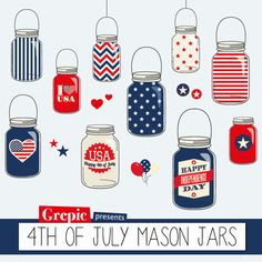 #4thofjuly #clipart #masonjars #jars #stars #stripes #red #blue - Indepence day clipart with Happy 4th of July mason jars clipart pack
