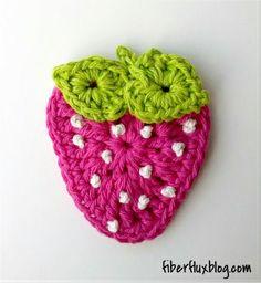 Fiber Flux...Adventures in Stitching: Free Crochet Pattern...Summer Strawberry Applique!