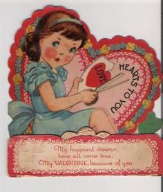 Vintage Crafty Girl Valentine Card