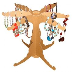 Portable jewelry tree made from cardboard. Look for these at Goofy Moose Production's summer shows!