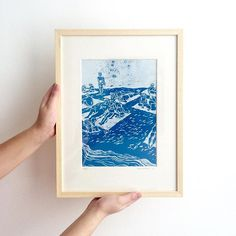 Framed Beach Lino print. Now the picture is complete! Illustration, linocut print by Irene Linders