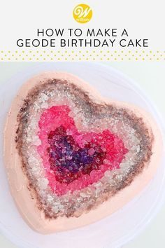 Learn how to make a heart-shaped geode cake for any celebration that needs a little extra sparkle! Find more dessert, baking and decorating ideas at Wilton. Cake Decorating Designs, Creative Cake Decorating, Cake Decorating Classes, Creative Cakes, Cookie Decorating, Decorating Ideas, Cupcake Recipes, Cupcake Cakes, Cup Cakes