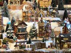 Dicken's Village by Department 56. My mom puts up her huge collection every year!