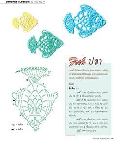 🐡 Aplique de Crochê em Peixes - / 🐡 Apply in Crocheting to Fishes - Crochet Fish, Freeform Crochet, Crochet Chart, Thread Crochet, Irish Crochet, Crochet Motif, Lace Knitting, Diy Crochet, Crochet Doilies