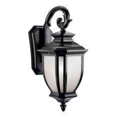 """View the Kichler 9040 Salisbury Single Light 19"""" Tall Outdoor Wall Sconce with Linen Glass Panels at LightingDirect.com."""