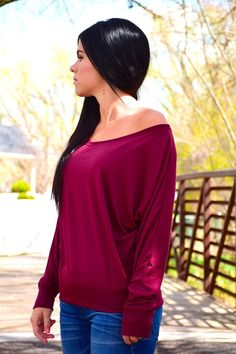 Flowy Long Sleeve Off Shoulder Tee! | Jane