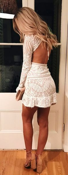 #summer #outfits  White Lace Open Back   Camel Pumps ✨