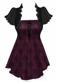 Love this gothic, steampunk flair top // style // t shirt // blouse // clothes // fashion Steampunk Clothing, Steampunk Fashion, Gothic Fashion, Dark Fashion, Emo Fashion, Pretty Outfits, Cool Outfits, Fashion Outfits, Womens Fashion