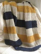 PDF pattern of my most popular baby blanket, the Navy, Cream, and Mustard Baby blanket. Measures 3 ft tall by 2 ft wide when finished, and knits up quickly