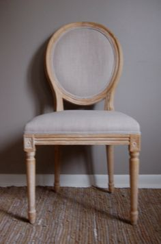 Vintage Style Linen Upholstered French Side Chair on Etsy, $200.00