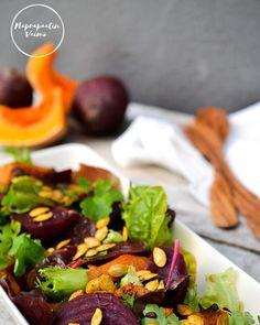 Syksyn väristä salaattia blogissa ☺ https://naprapaatinvaimo.blog/2017/10/02/lammin-punajuuri-kurpitsasalaatti/ #salaatti #punajuuri #kurpitsa #myskikurpitsa #lämminsalaatti #lisuke #gluteeniton #maidoton #naprapaatinvaimo