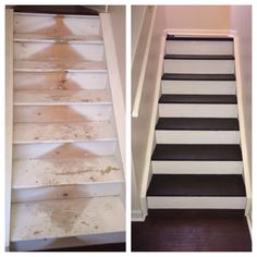I ripped the carpet off my stairs and refinished them.  I used a dark brown paint on the top of the step and a white paint on the riser.  They turned out awesome and only cost me around $50 to do as opposed to the $3000 it would have cost to get flooring put on them.