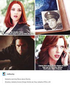 Natasha warning Steve about Bucky. Natasha knows things, what are they, Natasha! Tell us!