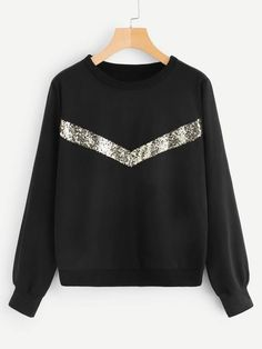To find out about the Contrast Sequin Sweatshirt at SHEIN, part of our latest Sweatshirts ready to shop online today! Funny Sweatshirts, Cool Hoodies, Sweatshirt Outfit, Girls Fashion Clothes, Teen Fashion Outfits, Fall Fashion, Fashion Tips, Sweat Shirt, Sweatpants Outfit