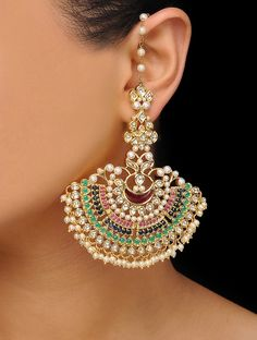 Fulfill a Wedding Tradition with Estate Bridal Jewelry Indian Jewelry Earrings, Indian Jewelry Sets, Jewelry Design Earrings, Indian Wedding Jewelry, Bridal Jewelry Sets, Bridal Earrings, Gold Earrings, Gold Jewelry, Silver Necklaces