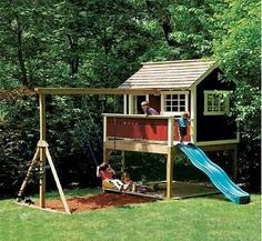 Kids Outdoor Wooden Playhouse Swing Set -detailed Plan