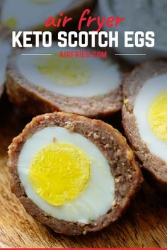 These keto scotch eggs are so easy thanks to the air fryer! Plus, they're a lot healthier since you're not deep frying! #recipe #keto #lowcarb Eggs Low Carb, Low Carb Keto, Low Carb Recipes, Cooking Recipes, Scotch Eggs, How To Cook Eggs, Kale Chips, Air Fryer Recipes, Sausage Breakfast