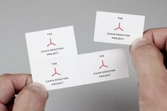 Logo and business card with perforated detail for The Chain Reaction Project designed by Bravo Company.