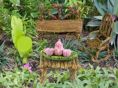 The Super Cute Miniature (Eight Piece) Fairy Garden Furniture & Tiny Tea Set.