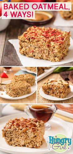 4 Healthy Oatmeal Bakes: Plain, PB&J, Chocolate Coconut, Maple Bacon - Healthy Baked Oatmeal Recipes: Plain, PB&J & Good Healthy Recipes, Ww Recipes, Healthy Baking, Gourmet Recipes, Healthy Snacks, Snacks Recipes, Eat Healthy, Healthy Life, No Bake Oatmeal Bars