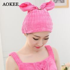 AOKEE Microfiber Magic Hair Drying Hat Cap Hair Dry Quick Dryer Bath Salon Towels Turban Wrap Towels Quick Dry Shower Caps A0024