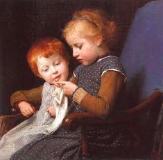"""Albert Anker (1831-1910), Schreibunterricht, - """"The Little Knitters"""""""